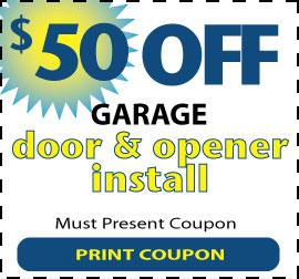$50 off a garage door and opener installation